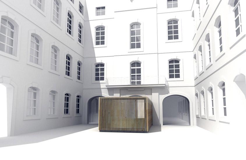 Aménagement visant à améliorer l'accueil du public de l'hôtel de ville de Carcassonne classé au titre des monuments historiques. Le projet comporte la restauration des éléments patrimoniaux et la création d'une extension contemporaine réversible.